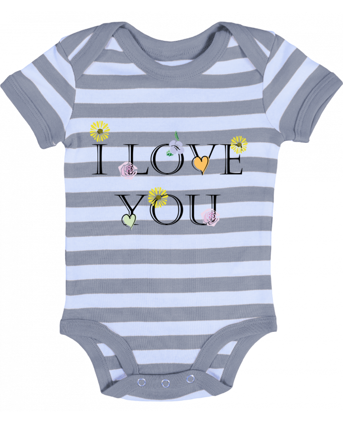 Body Bébé à Rayures I love You Floral - CBM-Boutique