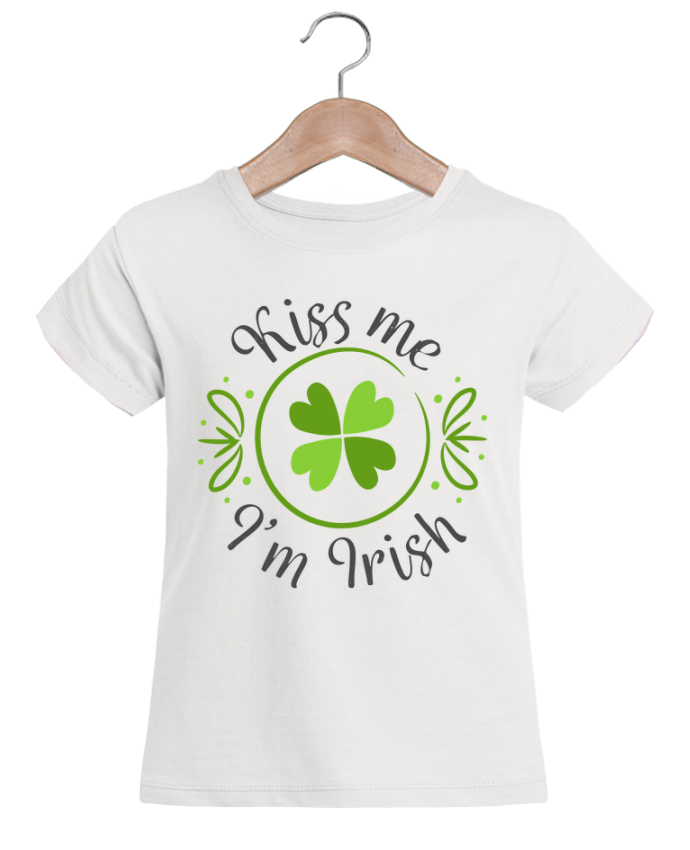 T-shirt Fille Mini Stella Draws Kiss me I'm Irish par tunetoo