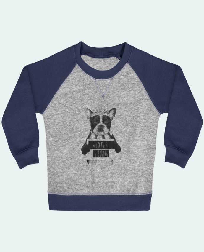 Sweat Shirt Bébé Col Rond Manches Raglan Contrastées Winter is boring par Balàzs Solti