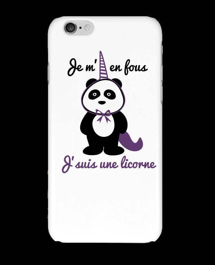 Coque iPhone 6 Je m'en fous j'suis une licorne, panda par Benichan
