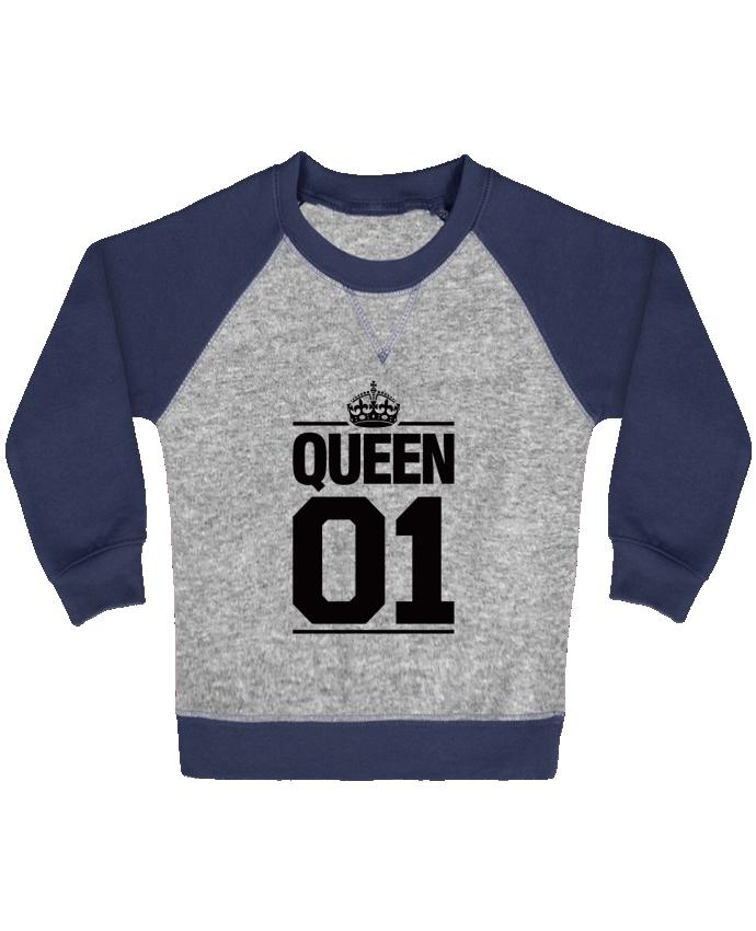 Sweat Shirt Bébé Col Rond Manches Raglan Contrastées Queen 01 par Freeyourshirt.com