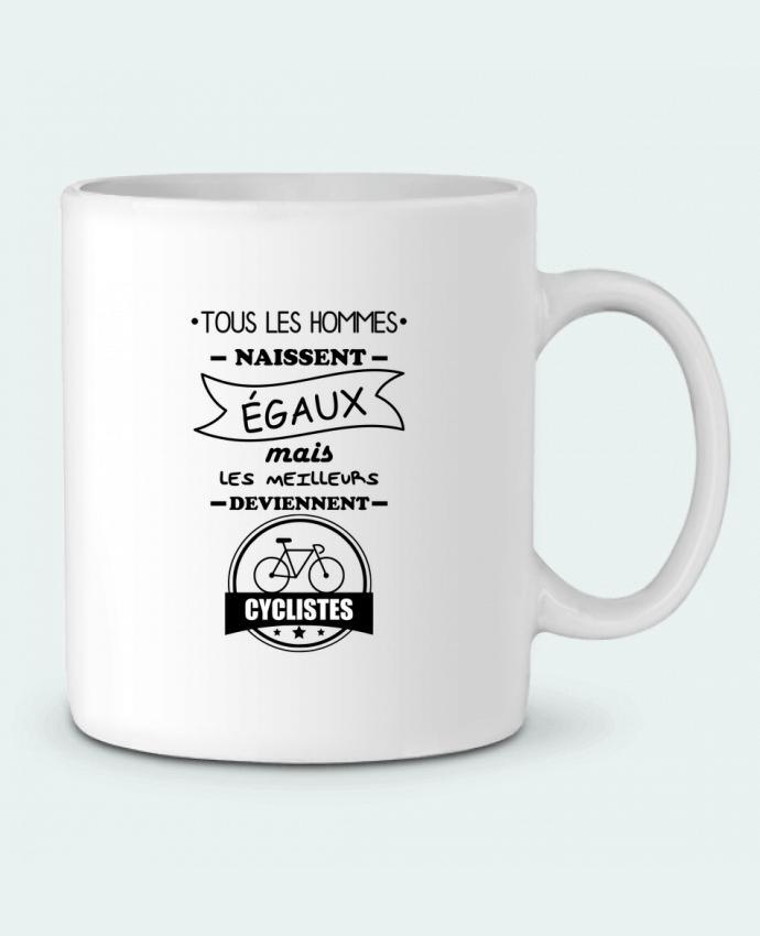 Mug en Céramique Tous les hommes naissent égaux mais les meilleurs deviennent cyclistes, cycliste, vélo par Beni