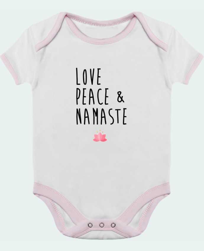 Body Bébé Contrasté Love, Peace & Namaste par tunetoo